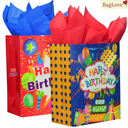 "BagLove Large Birthday Gift Bags with Tissue Paper for Kids (2 Pack) 10.5"" x 13"" x 5.5"" Bright and Colorful Birthday Gift Bags for Boys of All Ages"