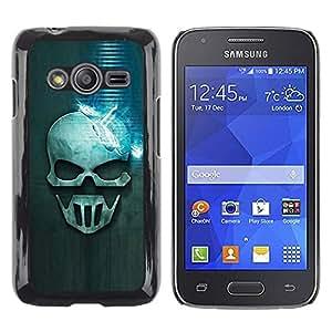 Be Good Phone Accessory // Dura Cáscara cubierta Protectora Caso Carcasa Funda de Protección para Samsung Galaxy Ace 4 G313 SM-G313F // Blue Skull
