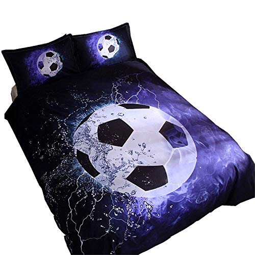 Rectangular Two Step Foot Pull (Meeting Story Football Splashing Water Print Duvet Cover Bedding Set for Kids(Galaxy Football, Queen))