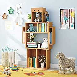 LITTLE TREE 4-Shelf Kids Bookshelf with Storage, Modern Solid Wood Bookcase Shaped Like Robot for Children (Beech Wood)