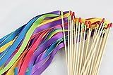 Cheonus 50PCS Handmade Wedding Ribbon Wands Triple Ribbon Rainbow Color Party Wand Streamers Ribbon Sticks Magic Fairy Wands Bridal Shower Photo Prop