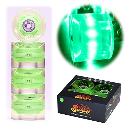 Sunset Longboard (Sunset Skateboards Cruiser Wheel with ABEC-9 Bearing (4-Pack), Green, 59mm/78a)