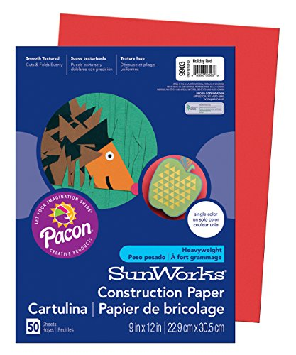 Sunworks Paper Groundwood Construction - Pacon SunWorks Construction Paper, 9-Inches by 12-Inches, 50-Count, Holiday Red (9903)