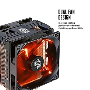 Cooler Master Hyper 212 LED Turbo- Black Top Cover is equipped with dual 120mm PWM Fans Red LEDs CPU Cooler