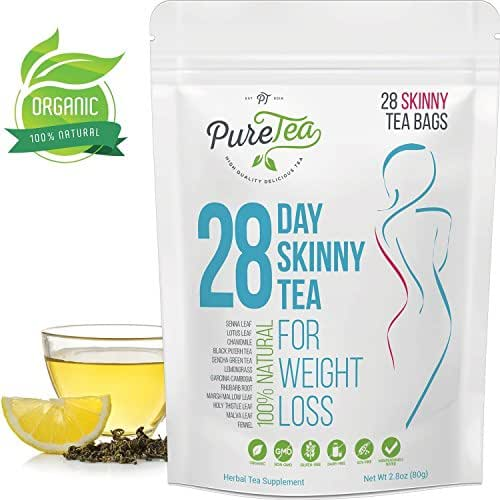 Skinny Tea Weight Loss Detox Cleanse, All Natural Herbal Diet Teatox Bags - Boost Metabolism, Reduce Bloating, Release Toxins - Fat Burning Laxative Free Slimming Blend for Women and Men - 28 Days