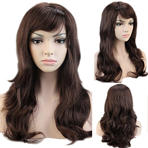 Cosplay Synthetic Full Wig with Bangs 20 Styles Heat Resistant Fiber Vogue Long Curly Wavy Layered 19'' / 19inch for Women Girls Lady Halloween Anime Costume Party Date,Mix Brown Auburn - Prom Queen Halloween Costume Diy