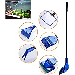 UEETEK 5 in 1 Complete Aquarium Fish Tank Clean Set Fish Net+Rake+Scraper+Fork+Sponge