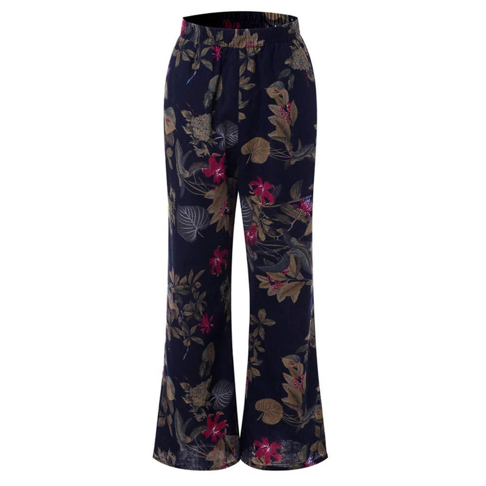0daf656c8a Amazon.com: BAOHOKE Women Floral Print Wide Leg Pants,Plus Size Cotton  Trousers,Vintage Flared Pant: Clothing