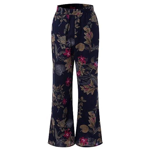 b967d7cca9 BAOHOKE Women Floral Print Wide Leg Pants,Plus Size Cotton Trousers,Vintage  Flared Pant