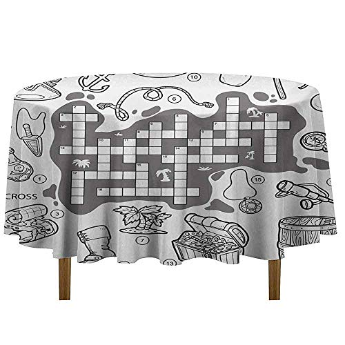 DouglasHill Word Search Puzzle Washable Tablecloth Colorless Pirates Themed Educational Puzzle Treasure Map and Icons Dinner Picnic Home Decor D35 Inch Grey Black White -