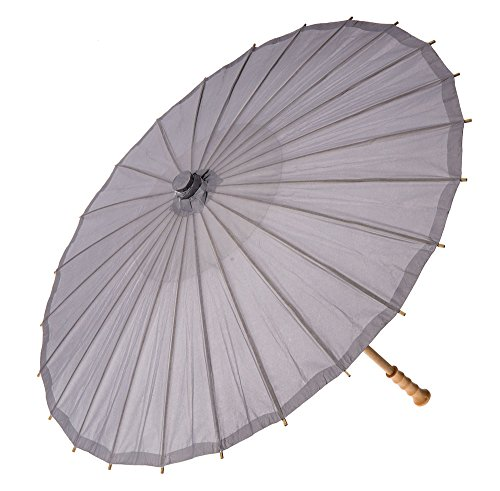 Luna Bazaar Paper Parasol (32-Inch, Lilac Grey) - Chinese/Japanese Paper Umbrella - For Weddings and Personal Sun Protection