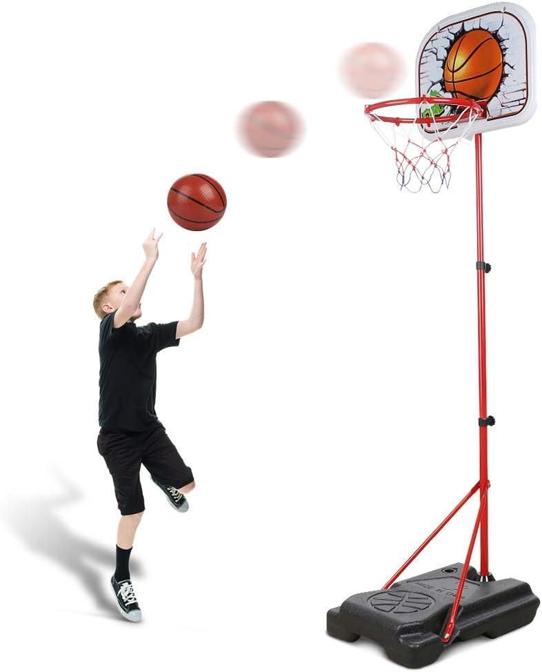 Abree Canasta Baloncesto Infantil Ajustable 170CM Canastas de Baloncesto Exterior con Soporte para Ejercicio de Niños