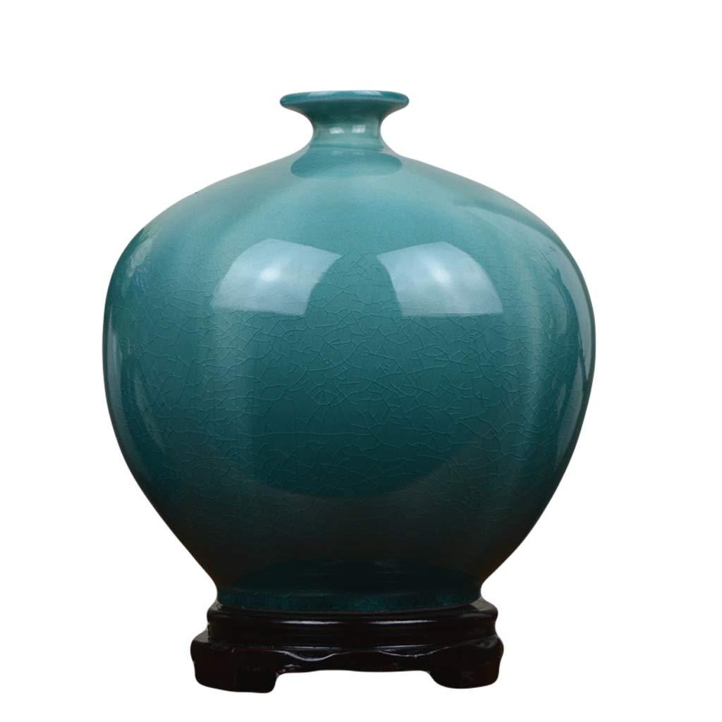 LIULIJUN 花瓶セラミック花瓶ブルークリエイティブアイスクラックヨーロッパのリビングルームフラワーアレンジメントホームモデルルームソフトデコレーション装飾品 (Size : M) B07T7TZZQS  Medium
