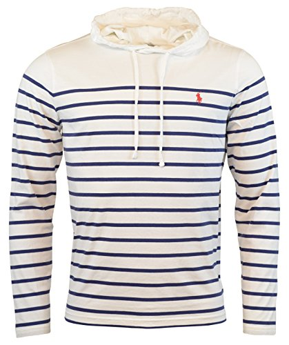 Lauren Long Sleeve Jersey - Polo Ralph Lauren Men's Jersey Knit Hoodie Long Sleeve Tee - M - White/Blue