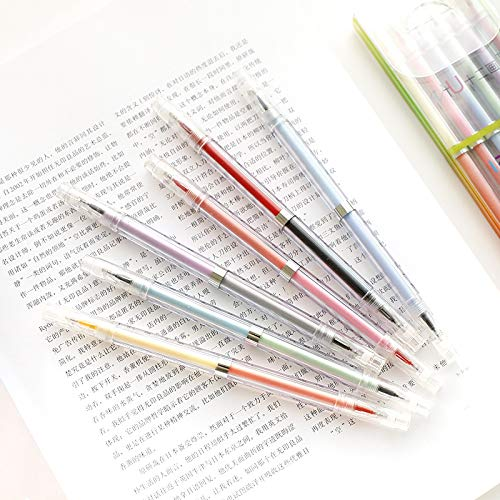 Japanese Style Double/Twin Tip Gel Ink Pens, 0.5mm Colorful Fine Ballpoint Maker Pen for Office School Stationery Supply,Pack of 6, 12 Assorted Colors