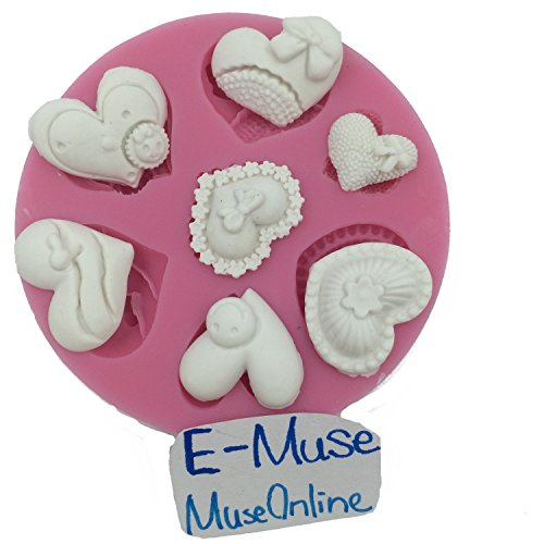 7 Cavities Assorted Hearts Cupcake Topper Fondant Cake Decoration Silicone Mould