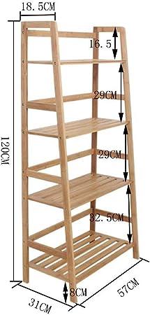 WY-Tong Estanteria Pared Libreria Rack de pie multifunción bambú Escalera Tipo apilado Racks Almacenamiento Oficina Estante de la Flor: Amazon.es: Hogar
