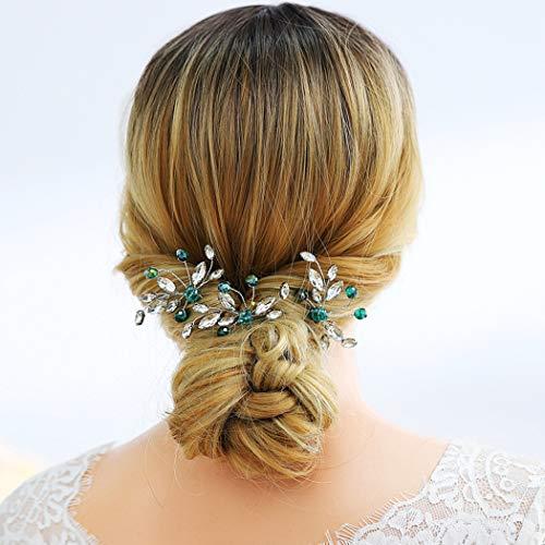 Artio Bride Wedding Flower Hair Pins Rhinestone Bridal Hair Accessories Hair Piece for Women and Girls 3PCS (Green)