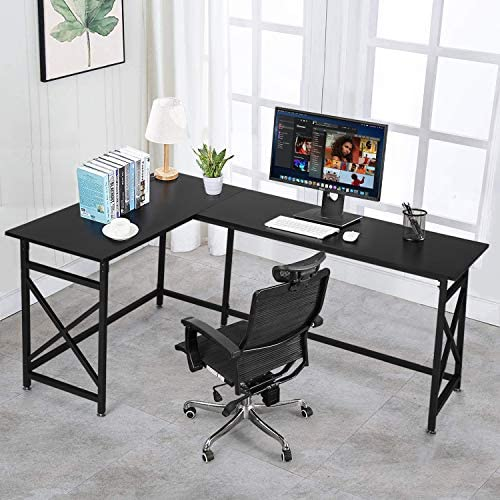 VECELO Modern L-Shaped Corner Computer Desk