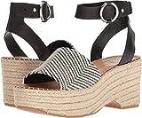 Dolce Vita Women's Lesly Wedge Sandal, Black/White Fabric, 7 M US