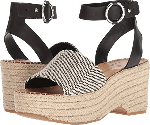 Dolce Vita Women's Lesly Wedge Sandal, Black/White Fabric, 7 M US by Dolce Vita
