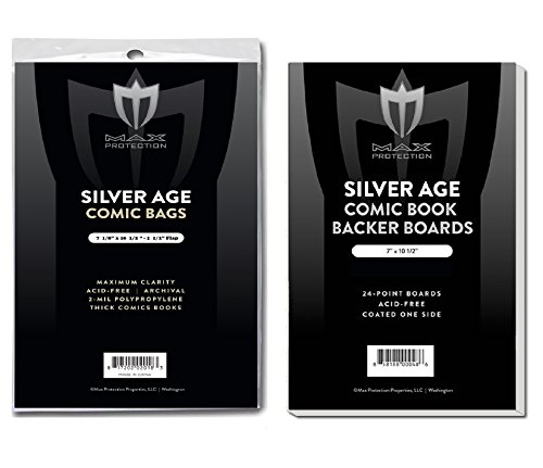 (100) SILVER Size Ultra Clear Comic Book Bags and Boards - by Max Pro (Qty= 100 Bags and 100 Boards) by Max Protection