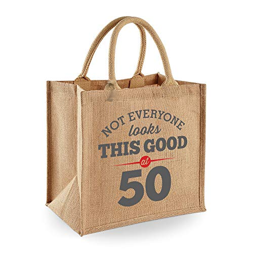 50th Birthday Keepsake Gift Bag Present for Women Novelty Jute Shopping Tote (50 Birthday Gifts For Women)