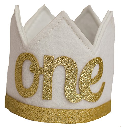 Baby Girl and Boy FIRST BIRTHDAY Sparkly Gold Crown ()