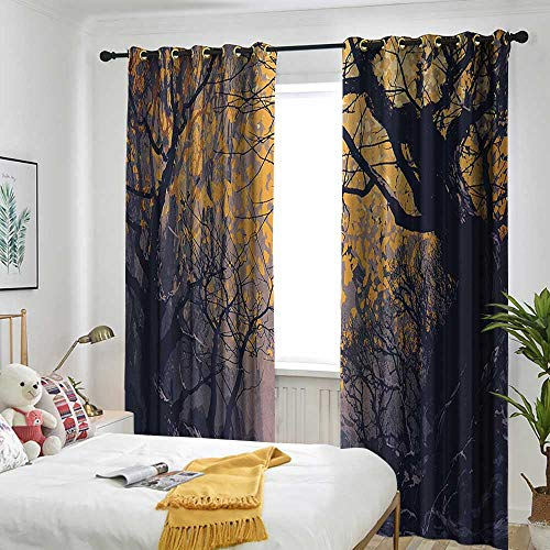 Birch River Nursery - AndyTours Fantasy Art House Decor Window Curtains Autumn Beech Birch Branches with River Creek with Rocks Scary Art Curtains for Living Room 72