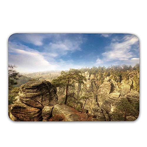 (TecBillion Nature Non Slip Door Mat,Wonders of The World National Park Rock Formation Czech Image Doormat for Front Door Indoor,23.6