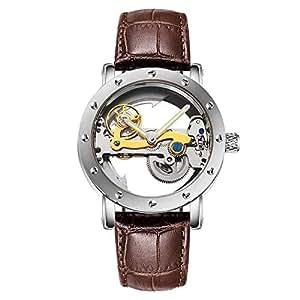 BINGABSFW Impermeable Mecánico Relojes Hombres Transparente Tourbillon Mecánico Automático Esqueleto Relojes Relogio Masculino