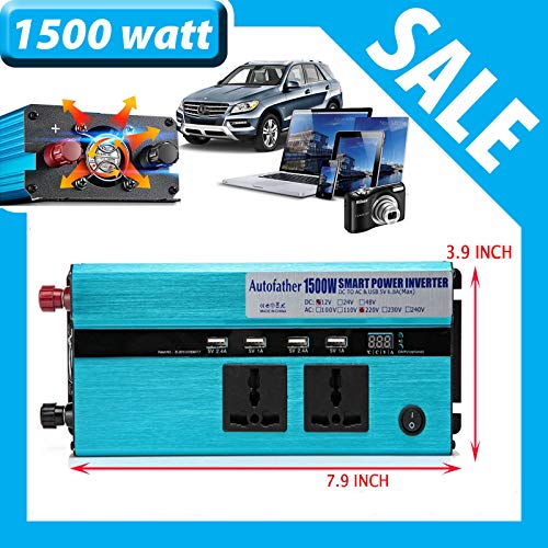 Car Power Inverter DC to AC 1500watt 3000watter Peak Car Converter with 2 AC Outlets/4 USB Ports/Car Battery Clip Car Charger For Laptop/Fan/DVD/Phone/Camera/Lighting/Camping