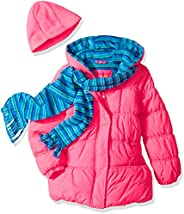 Pink Platinum Girls' Stripe Puffer with Hat and S