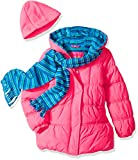 Pink Platinum Toddler Girls' Stripe Puffer with Hat and Scarf, Knock Out Pink, 4T
