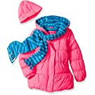 Pink Platinum Girls' Stripe Puffer With Hat and Scarf