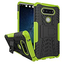 LG V20 Case, NOKEA Heavy Duty Hybrid Armor Rugged Dual Layer Case with kickstand Shock Proof Tough Rugged Dual-Layer Case for LG V20 (Green)