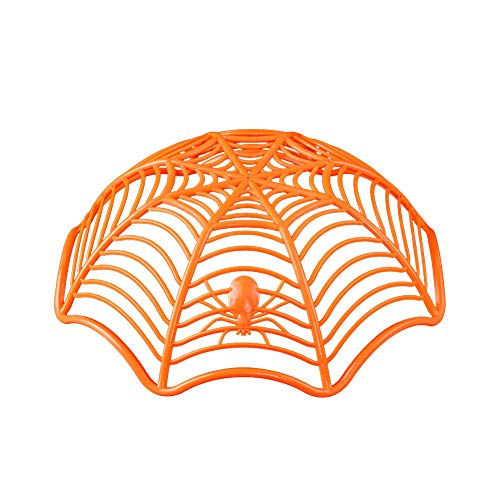 sJIPIIIk552 Creative Spider Web Biscuit Fruits Candy Plate Basket Bowl Halloween Party Decor Orange