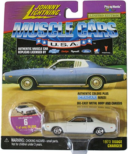 Johnny Lightning Muscle Cars USA - White 1973 Dodge Charger - Collector No. 6