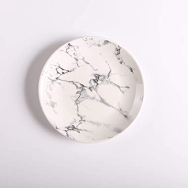 HOUTBY Elegant Gray Marble Texture Dinner Plate for Dessert/Fruit/Lunch 8 Round- Platter Plate