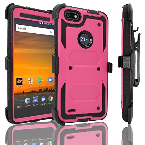 ZTE Blade Force Case with [Tempered Glass Screen Protector], Customerfirst [Heavy Duty] Dual Layer [Belt Clip] Holster [Kickstand] Combo Rugged Case For ZTE Blade Force N9517 - Polycarbonate Tempered Glass Vs