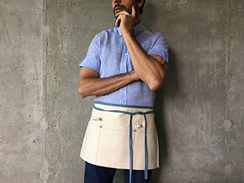 Reversible Waist Apron (Natural Waist Apron with Pockets & Loop | Eco Friendly Upcycled Cotton and Denim Half Apron | for Women, Men, Restaurant Server, Kitchen Waiter, Cooking Chef, Shop Work, Art Smock, Grill, Adult, Kid)
