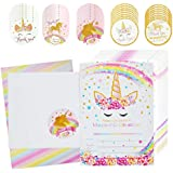 Qkit Magical Unicorn Birthday Party Invitation Card Kit for Kids Birthday Baby Shower Party Supplies - 24 Pieces of Fill-in Blank Invitation Card with Matching Envelopes and 40 Pieces of Stickers