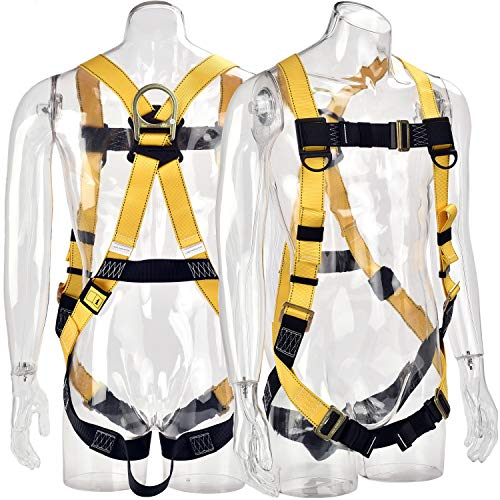 (WELKFORDER 1D-Ring Industrial Fall Protection Full Body Safety Harness ANSI Certified Personal Protection Equipment)