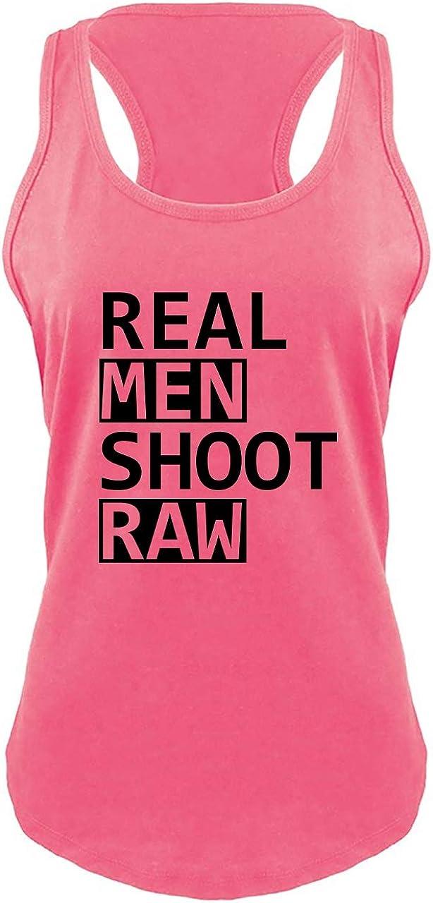 Comical Shirt Ladies Real Men Shoot Raw Funny Photography Shirt Cute Racerback