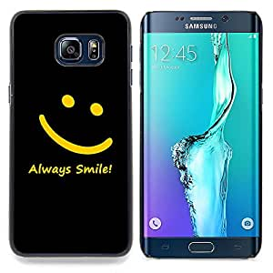 "Qstar Arte & diseño plástico duro Fundas Cover Cubre Hard Case Cover para Samsung Galaxy S6 Edge Plus / S6 Edge+ G928 (Smiley amarillo Negro Siempre Sonrisa Mensaje"")"