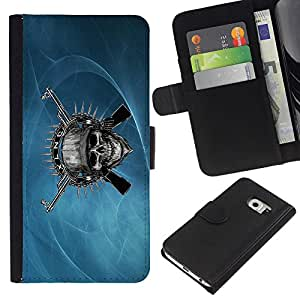 KingStore / Leather Etui en cuir / Samsung Galaxy S6 EDGE / Cráneo malvado y armas de metal
