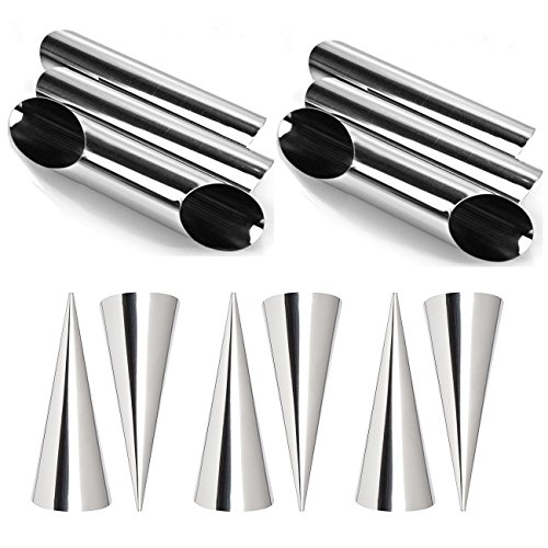Guaren us Pack of 12pcs Stainless Steel Cannoli Form Tubes, Cream Roll Horn Molds - Cone Shaped and Diagonal Shaped