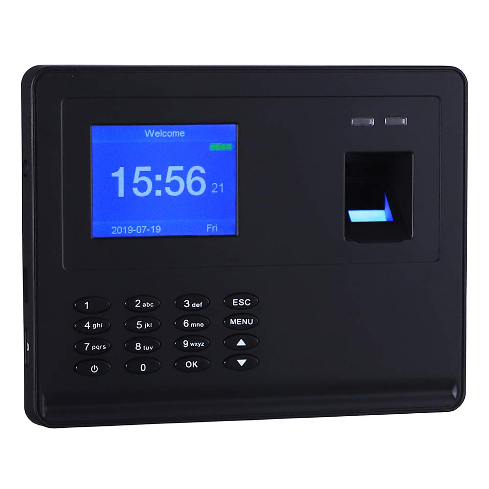 Antner Fingerprint Time Attendance Clock Blackouts Still Work Biometric Attendance Machine, Black by Antner