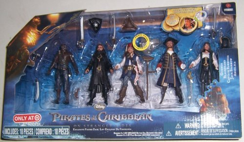 Pirates of the Caribbean On Stranger Tides Exclusive 4 Inch Action Figure 5Pack Gunner, Blackbeard, Captain Barbosa, Jack Sparrow Angelica -