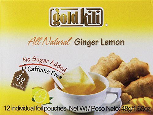 Gold Kili All Natural Ginger & Lemon Beverage Brewing Bags, 1.68-Ounce Boxes (Pack of 6)